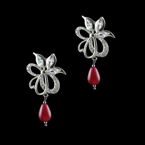 STERLING SILVER WITH CZ AND RUBY EARRINGS