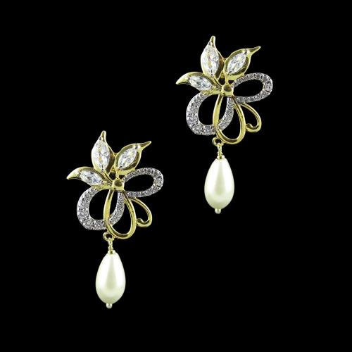 GOLD PLATED CZ AND RUBY EARRINGS