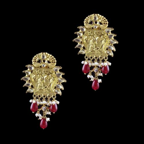 GOLD PLATED KUNDAN STONE WITH PEARL AND RUBY DROPS EARRINGS
