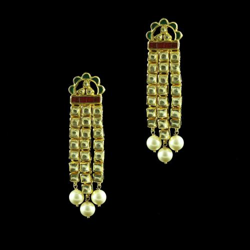 GOLD PLATED KUNDAN STONE WITH PEARL DROPS  EARRINGS
