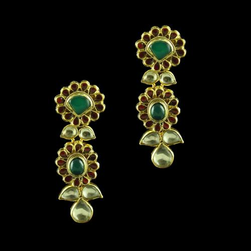 GOLD PLATED KUNDAN STONE  DROPS EARRINGS
