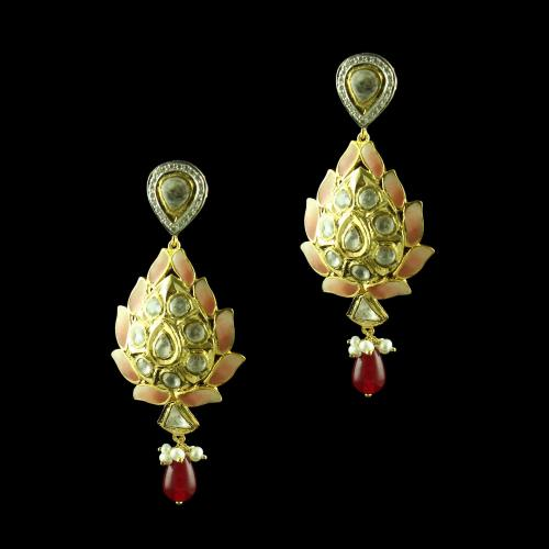 GOLD PLATED KUNDAN ENAMEL WITH RUBY AND PEARL  EARRINGS
