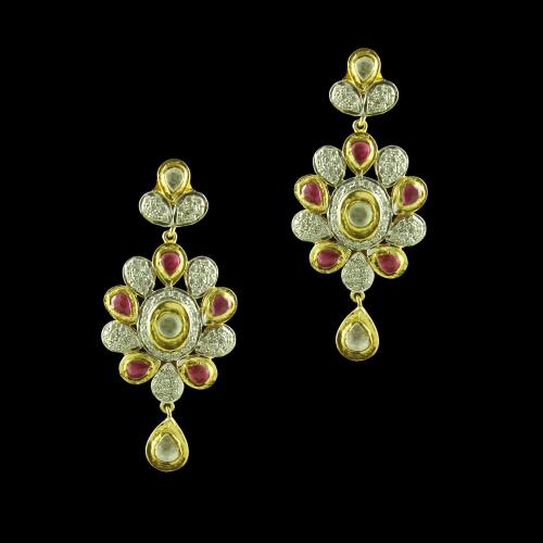 GOLD PLATED CZ STONE DROPS EARRINGS