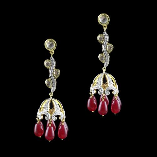 GOLD PLATED POLKI STONE JHUMKAS  WITH CZ AND  RUBY EARRINGS