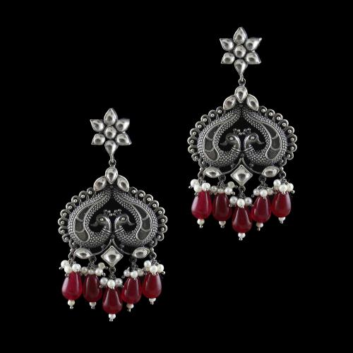 OXIDIZED SILVER KUNDAN PEACOCK DROPS EARRINGS WITH PEARL AND RED CORUNDUM BEADS