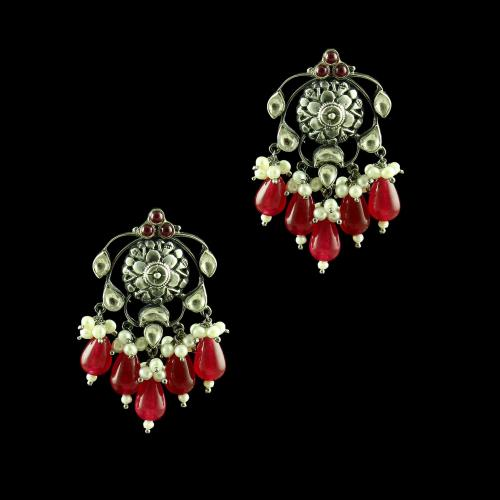 OXIDIZED SILVER KUNDAN DROPS EARRINGS WITH PEARL AND GREEN HYDRO