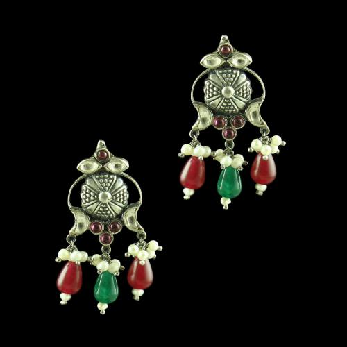 OXIDIZED SILVER KUNDAN DROPS EARRINGS WITH PEARL AND GREEN WITH RED CORUNDUM BEADS