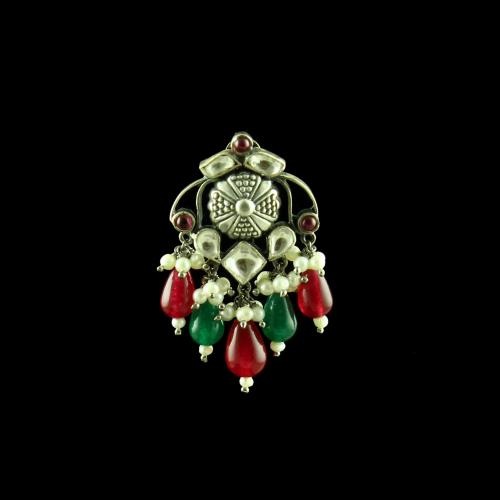 OXIDIZED SILVER KUNDAN DROPS EARRINGS WITH PEARL AND GREEN HYDRO AND  RED CORUNDUM BEADS