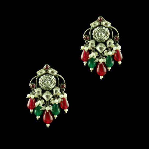 OXIDIZED SILVER KUNDAN DROPS EARRINGS WITH PEARL AND RED CORUNDUM BEADS