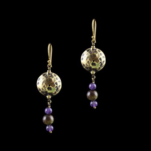 GOLD PLATED HANGING EARRINGS WITH QUARTZ STONE