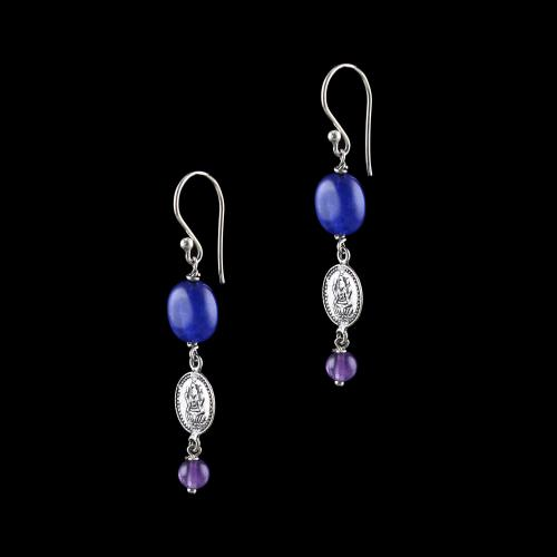 OXIDIZED SILVER LAKSHMI EARRINGS WITH LAPIS AND AMETHYST STONE