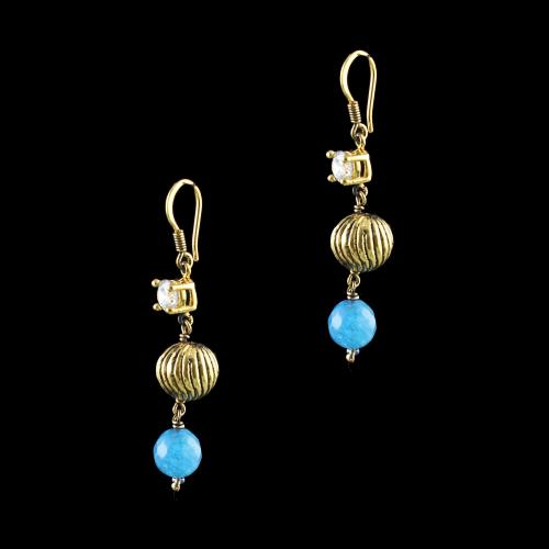 GOLD PLATED CZ AND BLUE  QUARTZ HANGING EARRINGS