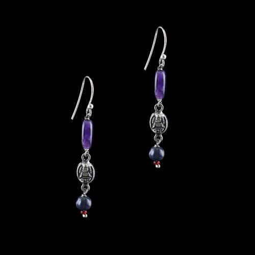 OXIDIZED SILVER LAKSHMI EARRINGS WITH AMETHYST AND BLACK PEARL