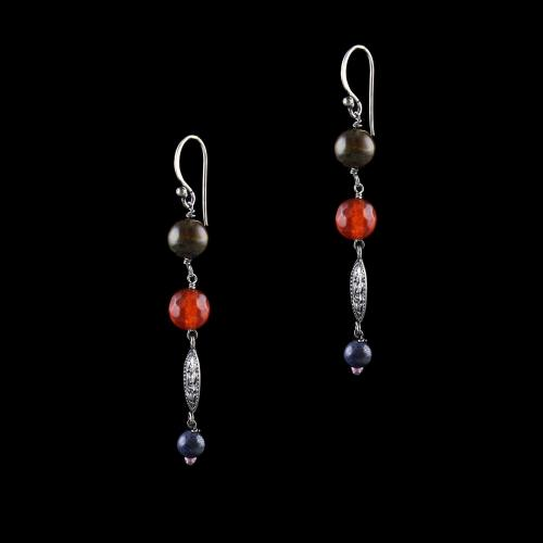 OXIDIZED SILVER LAKSHMI EARRINGS WITH TIGER EYE AND CARELIAN AND BLACK PEARL