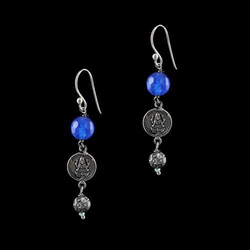 OXIDIZED SILVER LAKSHMI EARRINGS WITH BLUE QUARTZ