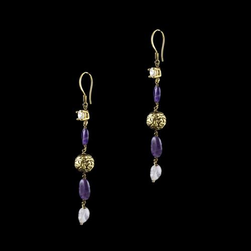 GOLD PLATED MULTI COLORS HANGING EARRINGS