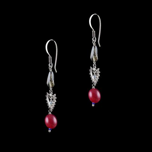 OXIDIZED SILVER RED ONYX HANGING EARRINGS