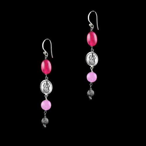 OXIDIZED SILVER LAKSHMI EARRINGS WITH RED AND PINK  QUARTZ