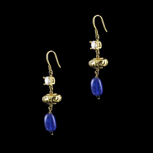 GOLD PLATED CZ AND BLUE JASPER HANGING EARRINGS