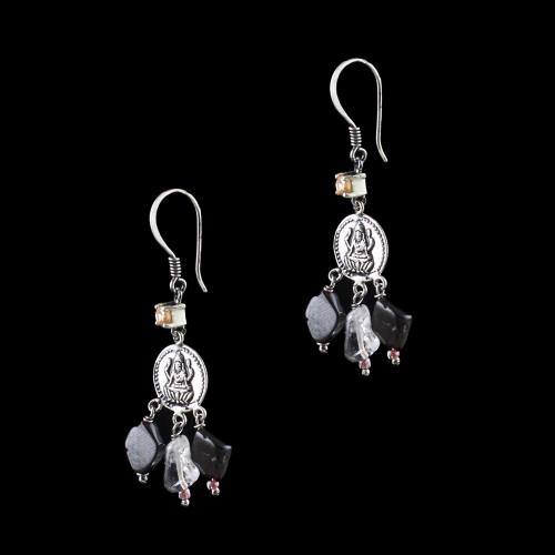 OXIDIZED SILVER LAKSHMI EARRINGS WITH MULTI COLOR STONES