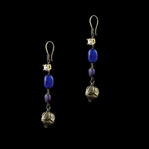 GOLD PLATED HANGING EARRINGS WITH BLUE JASPER