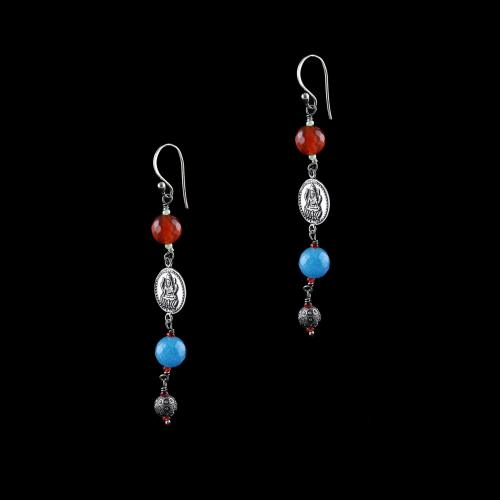 OXIDIZED SILVER LAKSHMI EARRINGS WITH CARNELIAN AND BLUE QUARTZ