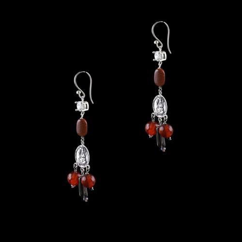 OXIDIZED SILVER LAKSHMI EARRINGS WITH SUN STONES