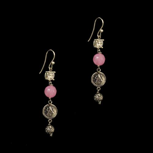 OXIDIZED SILVER LAKSHMI EARRINGS WITH CZ AND PINK QUARTZ