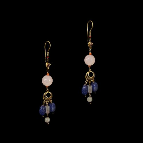 GOLD PLATED MULTI COLOR STONES HANGING EARRINGS