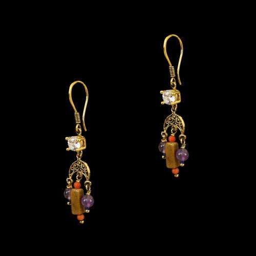 GOLD PLATED CZ AND QUARTZ WITH ROSEWOOD HANGING EARRINGS
