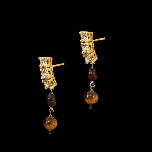 GOLD PLATED CZ AND MULTI COLORS STONES HANGING EARRINGS