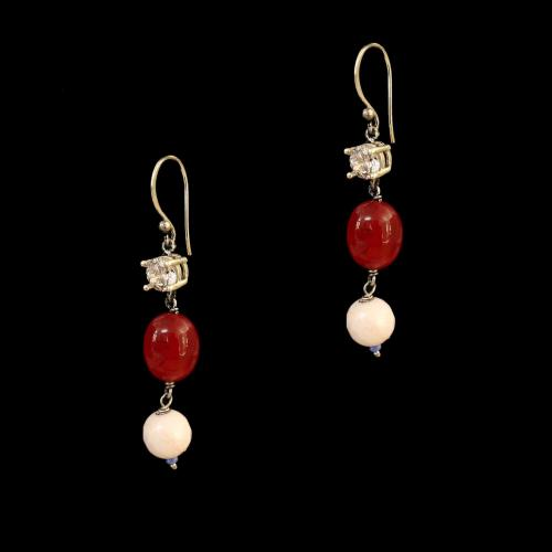 OXIDIZED SILVER LAKSHMI EARRINGS WITH RED ONYX AND CZ WITH PINKQUARTZ