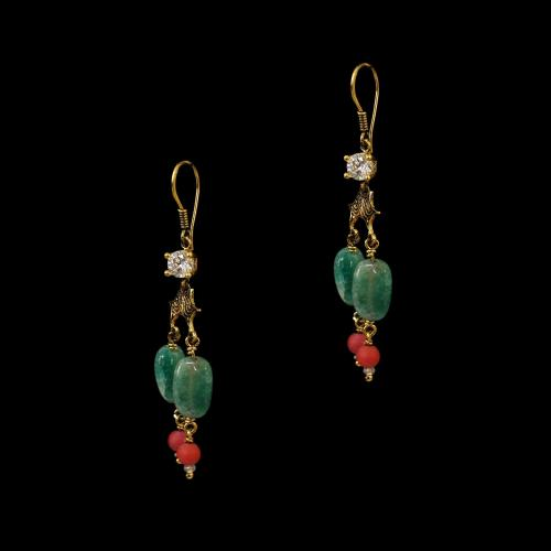 GOLD PLATED CZ AND GREEN JASPER HANGING EARRINGS