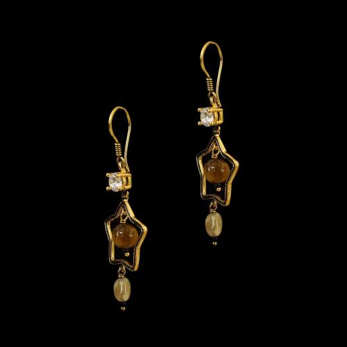 GOLD PLATED TIGER EYE AND CZ HANGING EARRINGS