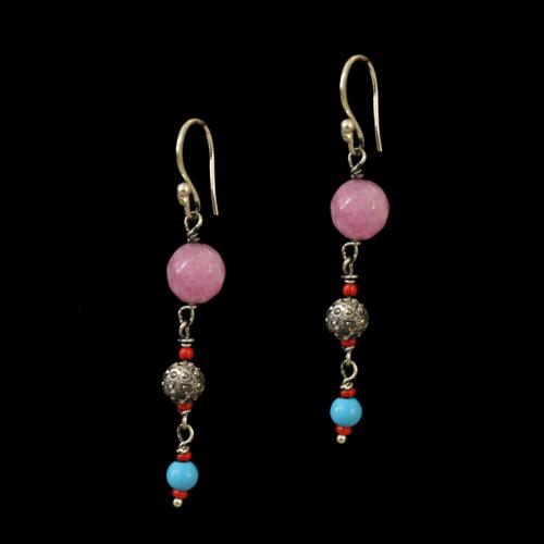 OXIDIZED SILVER LAKSHMI EARRINGS WITH TURQUOISE AND PINK  QUARTZ