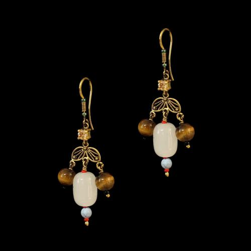 GOLD PLATED CZ AND TIGER EYE HANGING EARRINGS