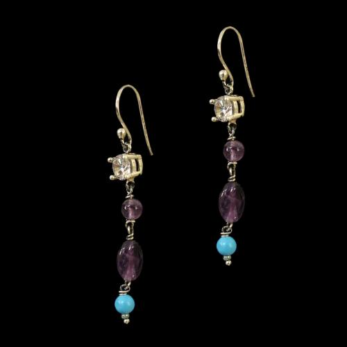 OXIDIZED SILVER LAKSHMI EARRINGS WITH TURQUOISE AND CZ