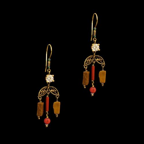 GOLD PLATED EARRINGS WITH CZ AND TORQUOISE WITH CARNELIAN