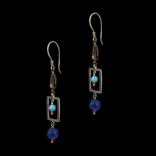 OXIDIZED SILVER LAKSHMI EARRINGS WITH QUARTZ AND TURQUOISE