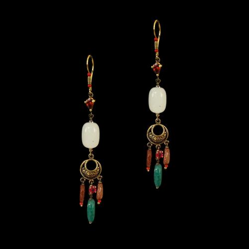 GOLD PLATED CZ AND SUN STONE WITH JASPER HANGNG EARRINGS