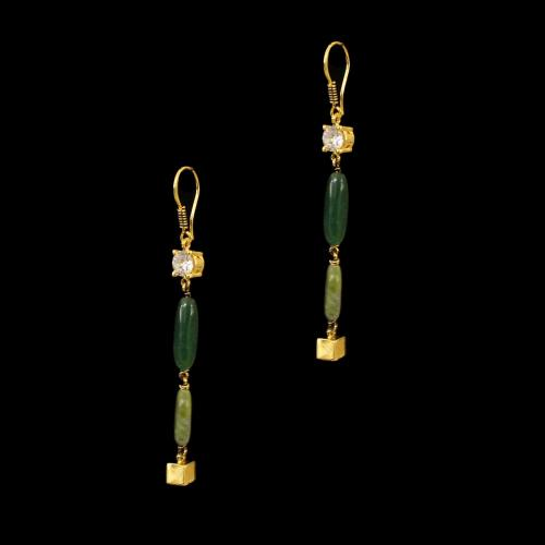 GOLD PLATED  MULTI COLORS STONES HANGING EARRINGS