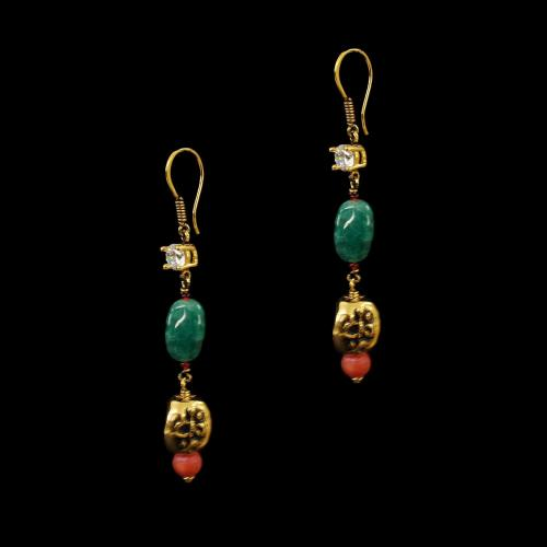 GOLD PLATED CZ AND GREEN JASPER STONES HANGING EARRINGS