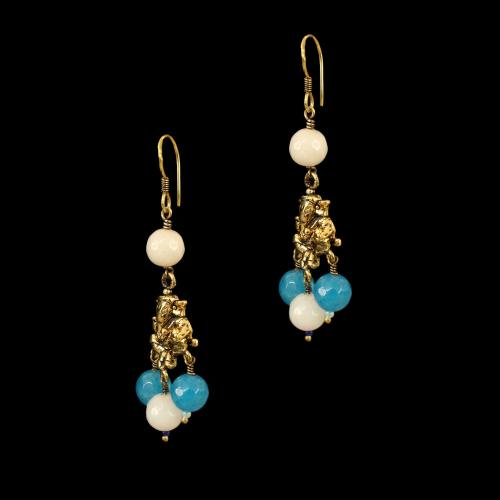 GOLD PLATED GANESHA HANGING EARRINGS WITH BLUE QUARTZ