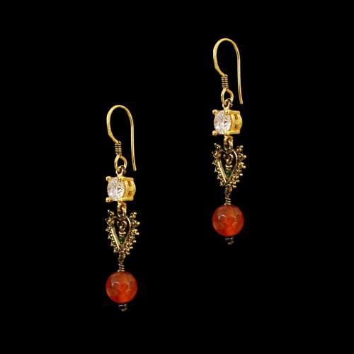 GOLD PLATED CZ AND CARNELIAN STONE HANGING EARRINGS