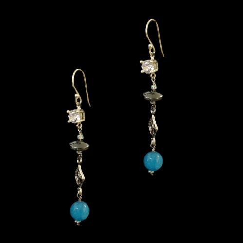 OXIDIZED SILVER HANGING EARRINGS WITH CZ WITH  QUARTZ