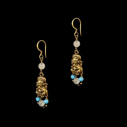 GOLD PLATED HANGING EARRINGS WITH TURQUOISE AND QUARTZ