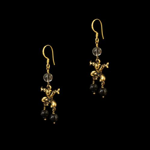 OXIDIZED SILVER HANGINGS EARRINGS WITH CRYSTAL AND BLACK SIPDER