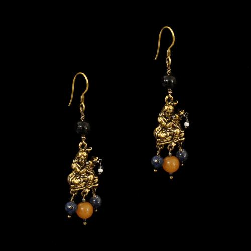 GOLD PLATED HANGING EARRINGS WITH QUARTZ