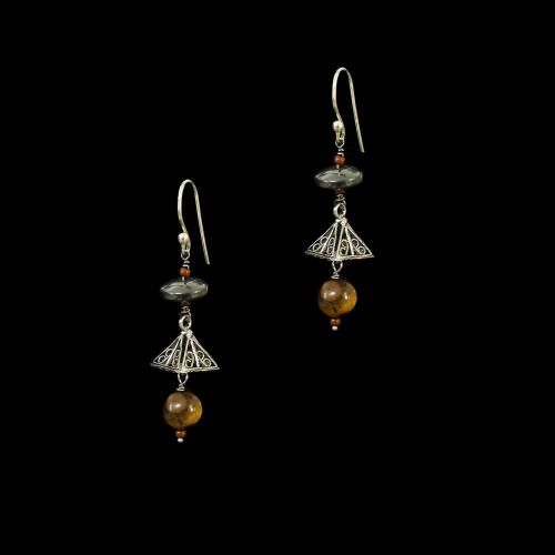 OXIDIZED SILVER HANGING EARRINGS WITH TIGER EYE