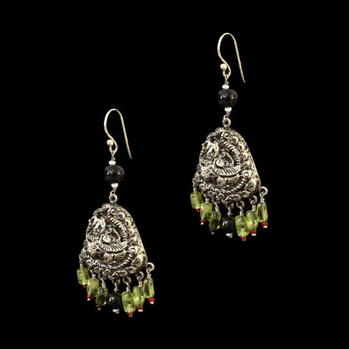 OXIDIZED SILVER LAKSHMI EARRINGS WITH BLACK SPINAL